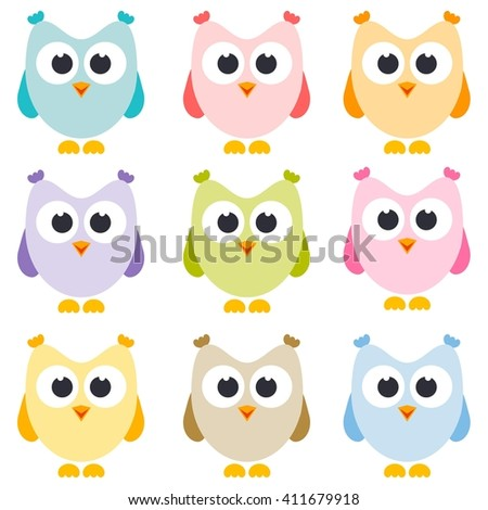 set of owls isolated on white - stock vector