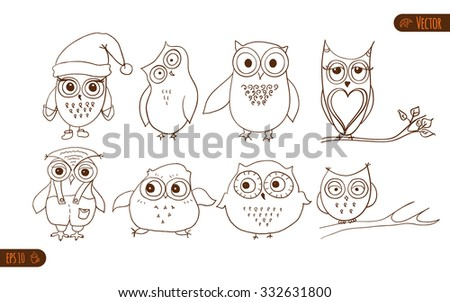 Set of owls. Vector cartoon owls and owlets birds isolated on white background. - stock vector