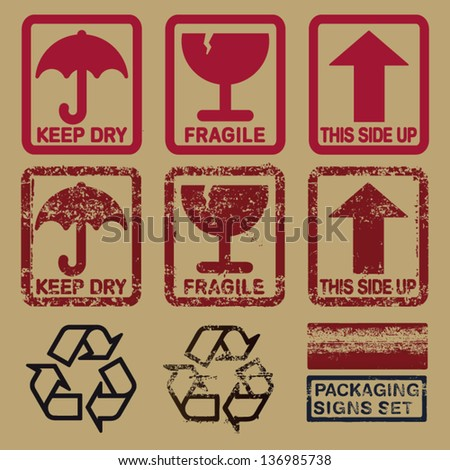 set of packaging signs in plain and grunge skin - stock vector