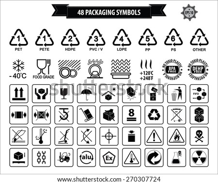 Set Of Packaging Symbols (this side up, handle with care, fragile, keep dry, keep away from direct sunlight, do not drop, do not litter, use only the trolley, use fifo system, max carton, recyclable). - stock vector