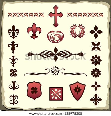 Heraldic symbols romanesque style old paper stock vector for A style text decoration