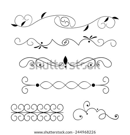 Set page decoration line drawing design stock vector 244968226 set of page decoration line drawing design elements vintage dividers in black color vector illustration junglespirit Choice Image