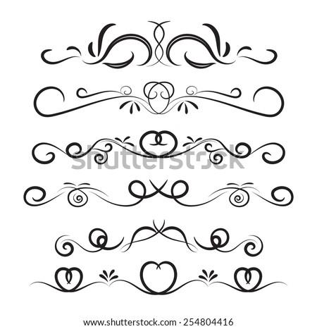 Set page decoration line drawing design stock vector 254804416 set of page decoration line drawing design elements vintage dividers in black color vector illustration junglespirit Images