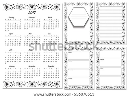 Set Pages Template Daily Planner Printable Stock Vector 2018