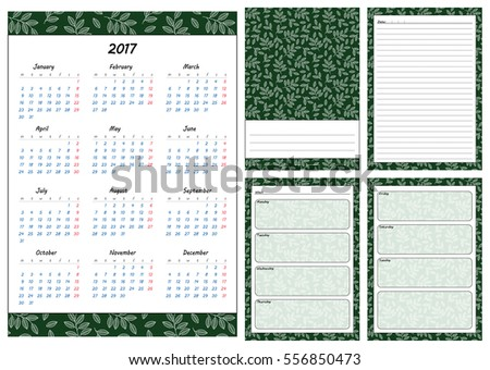 Set Pages Template Daily Planner Printable Stock Vector 556850473