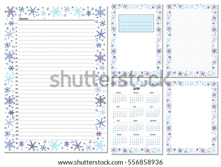 Set Pages Template Daily Planner Printable Stock Photo Photo