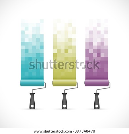 Set of paint rollers icons with abstract pixelated paint strokes. - stock vector