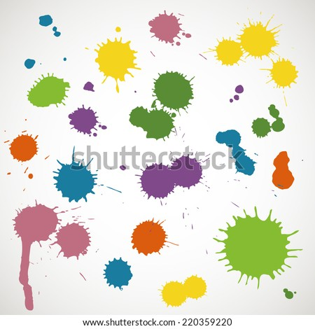 Set of paint splash and brush strokes (blobs, spots, splats, blotches). Colorful watercolor splashes isolated on white background. Vector illustration.  - stock vector