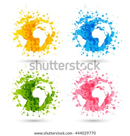 Set of paint splashes with map silhouette
