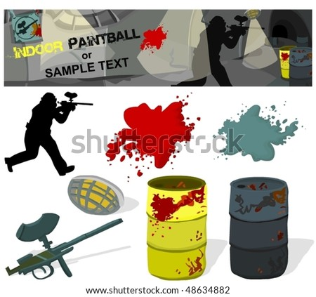 Set of paintball accessories, banner - stock vector