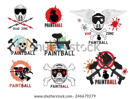 set paintball logo labels emblems designed stock vector 246679279 rh shutterstock com paintball logo maker paintball logo maker