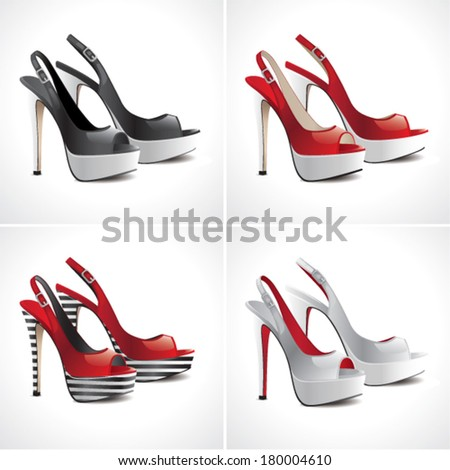 Set of 4 pairs of sandals shoes - stock vector