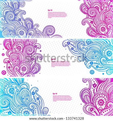 Set of paisley banners - stock vector