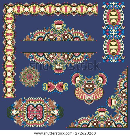 set of paisley floral design elements for page decoration, frame, corner, divider, circle snowflake, stripe pattern, vector illustration on dirty dark blue - stock vector