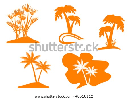 Set of palm trees for design isolated - abstract emblem. Jpeg version also available