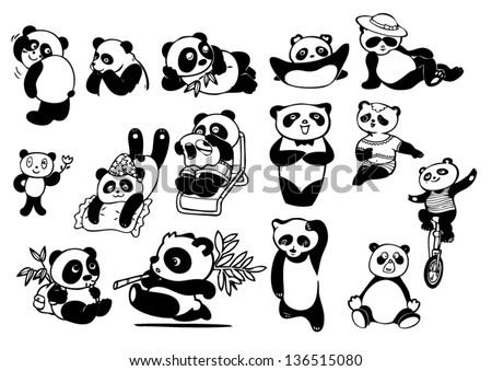 set of panda bears.eps10 - stock vector