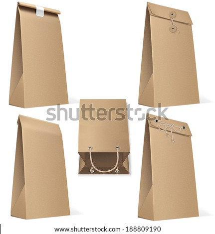 Set of paper bags isolated on white. Vector Illustration  - stock vector
