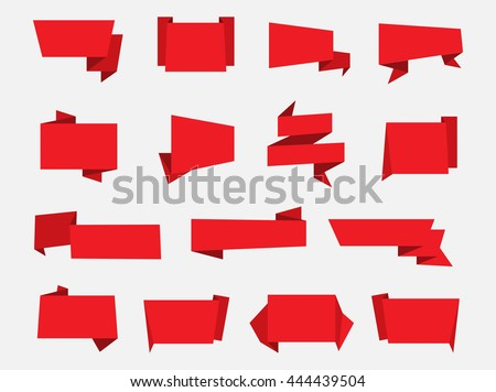 Set of paper banners.Origami banners.Vector illustration. - stock vector