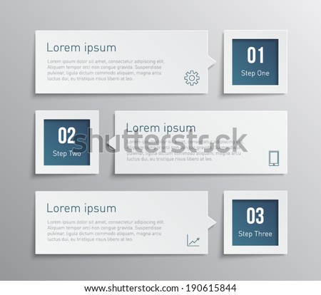 Set of paper banners / tags for business design, infographics, step presentation, progress, number options, websites or workflow layout. Clean and modern style  - stock vector