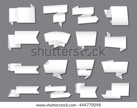 Set of paper banners.Vector origami banners. - stock vector