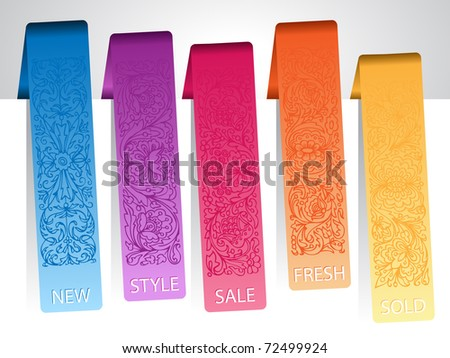 set of paper colorful ornamental tags - stock vector