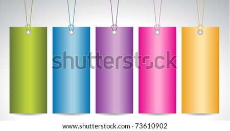 set of paper colorful tags - stock vector
