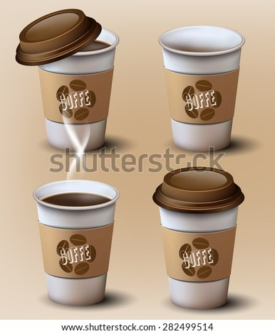 Set of  paper cups.Different position.Vector design - stock vector
