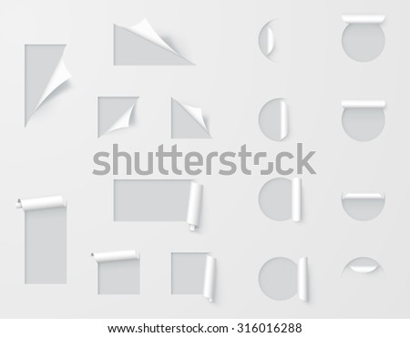 Set of Paper Cutout Labels Peeled Back - stock vector