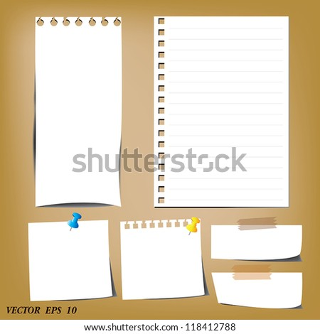 set of paper designs (paper sheets and note paper) - stock vector