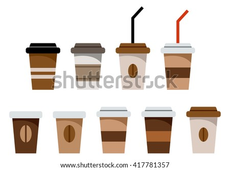 Set of paper glasses for coffee. Vector