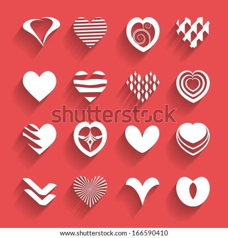 set of paper hearts - stock vector