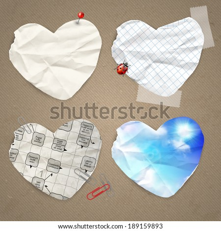 Set of paper label in the shape of heart