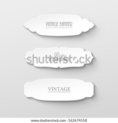 Set of paper labels in vintage style - stock vector