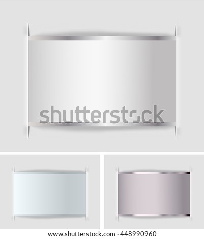 set of paper labels with metallic border. vector illustration - stock vector