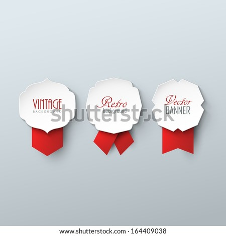 Set of paper labels with ribbons in vintage style  - stock vector