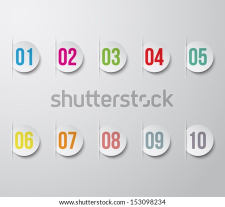 Set of paper numbered banners for business design, infographics, reports, progress, step presentation, number options, websites or workflow layout. Clean and modern style - stock vector