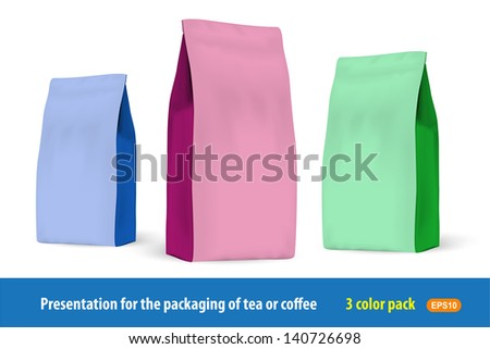 Set of paper packets of 3 colors for the presentation of the company's products. - stock vector