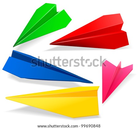 Set of paper planes - stock vector