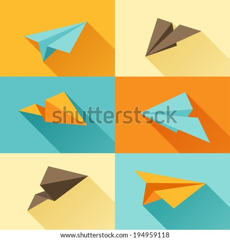 Set of paper planes in flat design style. - stock vector