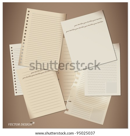 Set of paper sheets. Vector illustration.