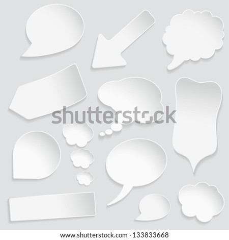 Set of paper speech and thought bubbles, element for design, vector illustration - stock vector