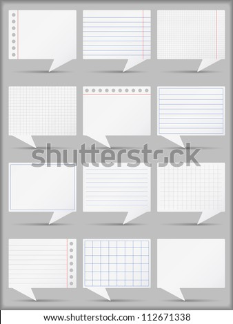 Set of paper speech bubbles, vector eps10 illustration - stock vector