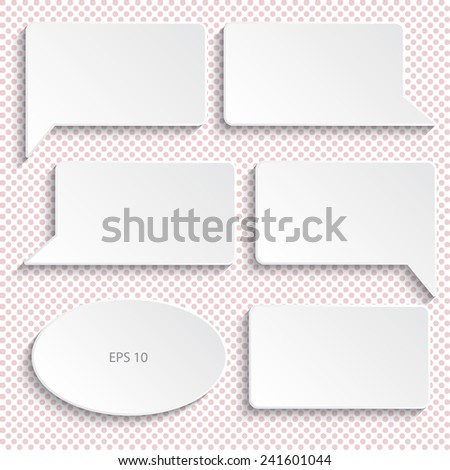 Set of paper speech bubbles, vector illustration. Background with polka dots. - stock vector