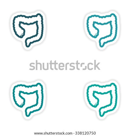 Set of paper stickers on white background Duodenum human - stock vector