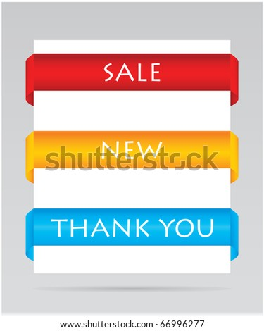 set of paper tags for sale, new and thank you items - stock vector