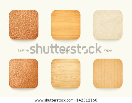 set of paper wood and leather app icons, for background or template, eps10 vector illustration
