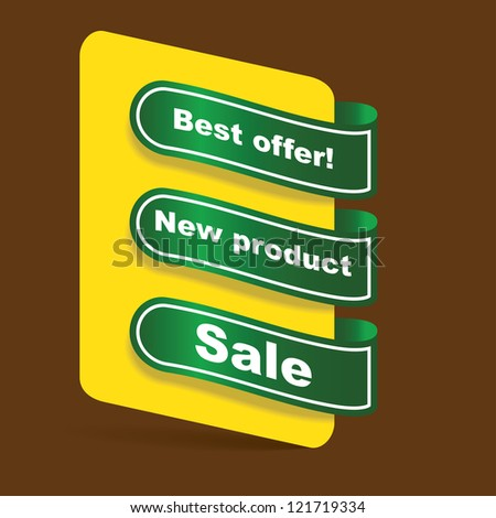 set of papper tags for offer, new and sale, illustration - stock vector