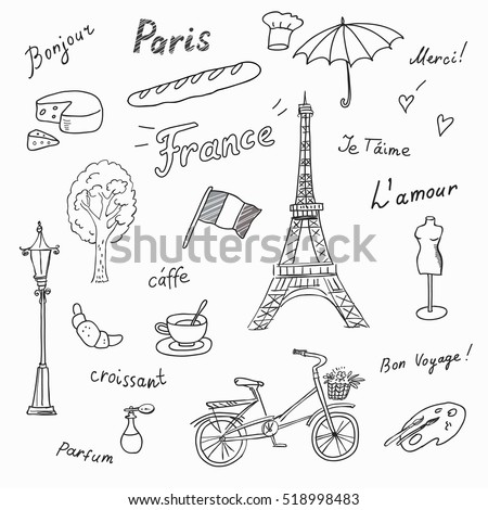 Set of Paris french symbols,landmarks.Travel icons Eiffel Tower, perfume,fashion,coffee,flag.Used the words:France,Paris,love you,thank you, hello,croissant,perfume,travel.Black and white sketch.