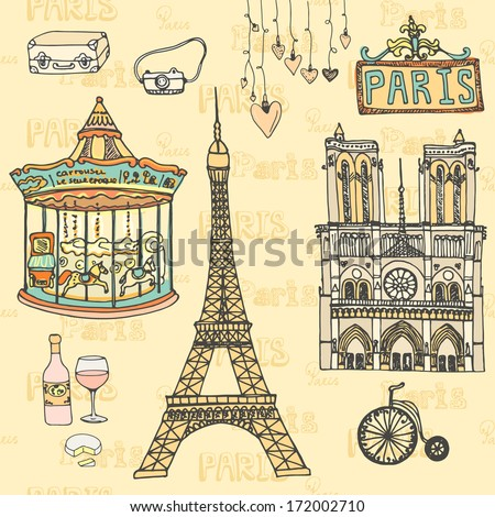 Set of Paris symbols made in vector. Eiffel tower, moulin rouge, Notre Dame De Paris, wine, cheese.  - stock vector