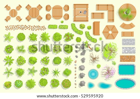 Set Park Elements Top View Collection Stock Vector